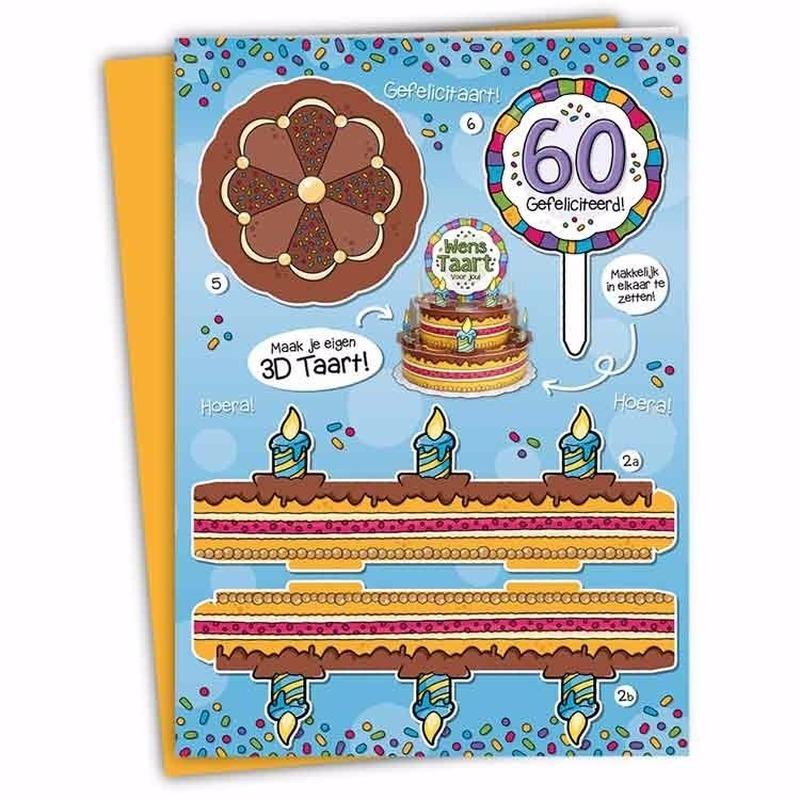 Super Mega 3D taart kaart Abraham 60 jaar bij Kostuum Voordeel altijd @EN94